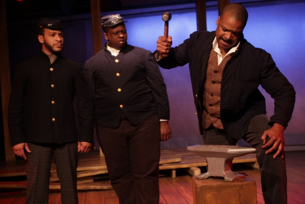 Soldiers (Brandon Balque and Rodrick Randall) and Decatur Bronson (Shawn Hamilton)