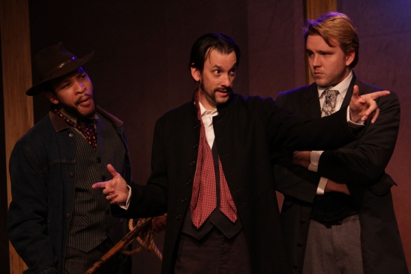 Lewis Payne (Brandon Balque), John Wilkes Booth (Jon L. Egging), and John Surratt (Jonathan Teverbaugh)