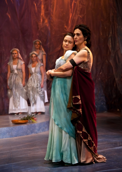 The proud Dionyza of Tarsus (Jacqueline Antaramian) and Marina, her lovely ward (Lindsey Kyler)