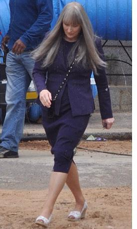 Silver Fox! Meryl Streep Arrives In Costume On Set Of THE GIVER