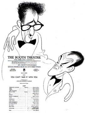 George Kaufman and Moss Hart with program for You Can't Take It With You, c. 1971 One of the Pulitzer Prize series commissioned and donated to the Billy Rose Theater Division by Harold Steinberg