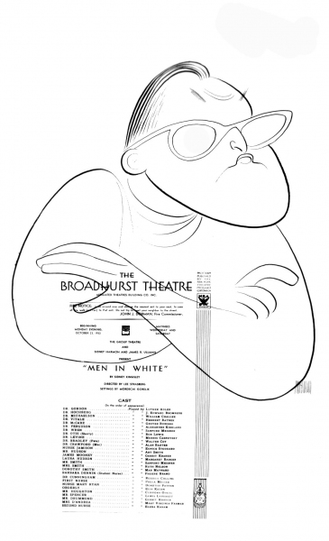 Sidney Kingsley with a program for Men in White, c. 1971 One of the Pulitzer Prize series commissioned and donated to the Billy Rose Theater Division by Harold Steinberg