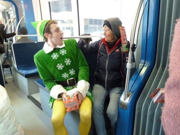 PHOTO FLASH: Buddy the Elf Brings Sparklejollytwinklejingley Joy to Houston METRORail
