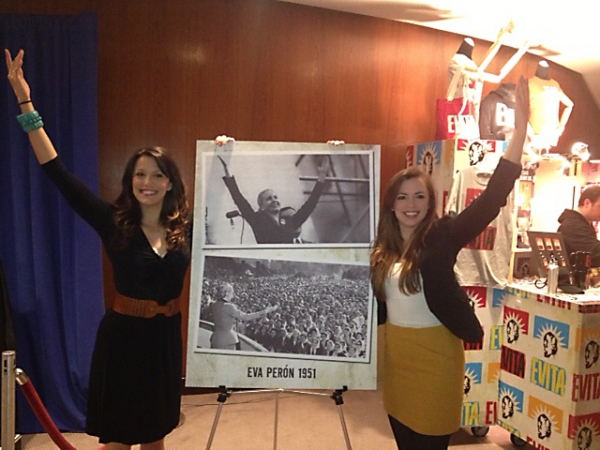 Caroline Bowman, who stars as Eva Perón in the current run of EVITA at the Center, and Desi Oakley, who performs in certain performances, popped up to the audience engagement displays in the Segerstrom Center lobbies on Wednesday evening. They posed next