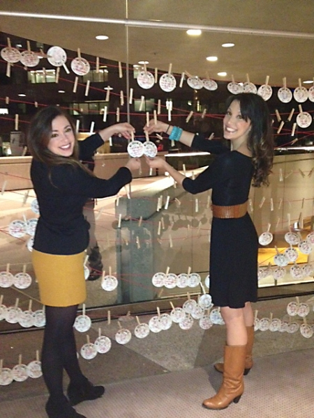 Caroline Bowman, who stars as Eva Perón in the current run of EVITA at the Center, and Desi Oakley, who performs in certain performances, popped up to the audience engagement displays in the Segerstrom Center lobbies on Wednesday evening. They posted t