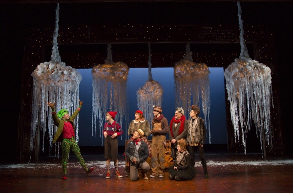 Caesar Samayoa as Mr. Toad, at left, with Cole Escola as Portly Otter, Becca Ayers as Mrs. Otter, Justin Keyes (seated) as the Water Rat, Mike Faist as Mole, William Thomas Evans as Dr. Badger, Amanda Butterbaugh (seated) as a Weasel, and Sean Patrick Doy