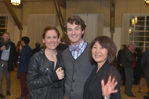 """Emily Koch (who played """"Jo""""), with Matt Dengler (""""Laurie""""), and costume designer Fumiko Bielefeldt at the opening night party"""