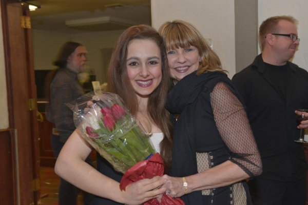 Arielle Fishman (Amy) gets opening night flowers from producer Holly Ward