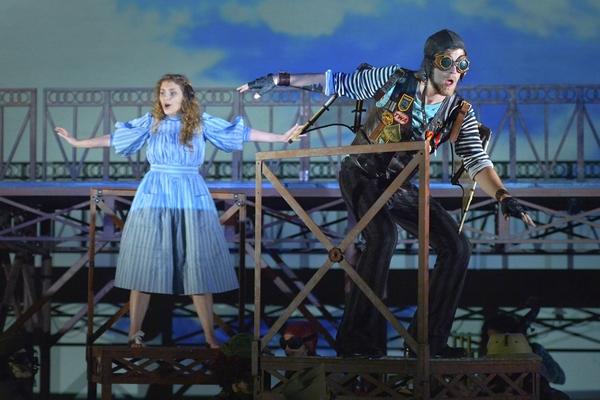 Gerda (Eryn Murman) flies with the Crow (Jason Hite) in San Jose Rep's world premiere musical adaptation of The Snow Queen.