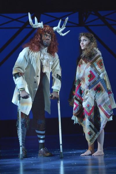 The Reindeer (Rhett George) and Gerda (Eryn Murman) in San Jose Rep's world premiere musical adaptation of The Snow Queen.