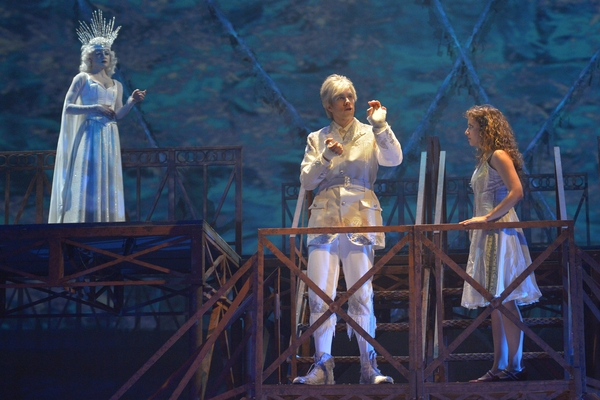 In the Snow Queen''s palace,(Jane Pfitsch), Kai (Tim Homsley) and Gerda (Eryn Murman) in San Jose Rep's world premiere musical adaptation of The Snow Queen