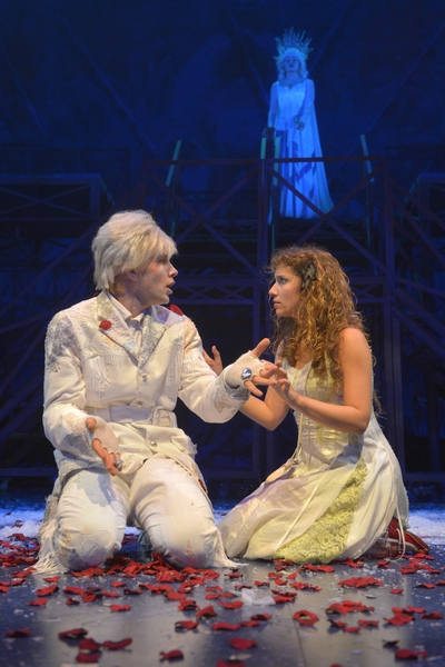 In the Snow Queen''s palace, Kai (Tim Homsley) and Gerda (Eryn Murman)reconnect as the Snow Queen (Jane Pfitsch) looks on in San Jose Rep's world premiere musical adaptation of The Snow Queen.