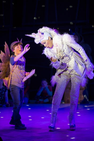 Henry Wager as the Angel and Jacqueline Echols as the Unicorn
