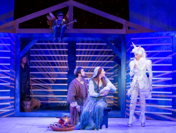 Henry Wager (top) as the Angel and (l-r) John Ordu�'±a as the Donkey, Patrick O'Halloran as Joseph, Catherine Martin as Mary, and Jacqueline Echols as the Unicorn