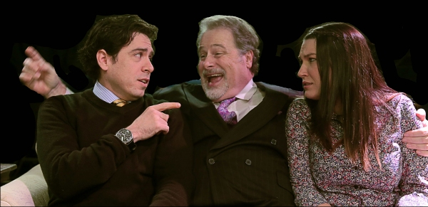 Frank (Scott Holmes) shares his philosophy of marriage with William (Scott McWhirter) and Mary (Michelle Drake Wilson)