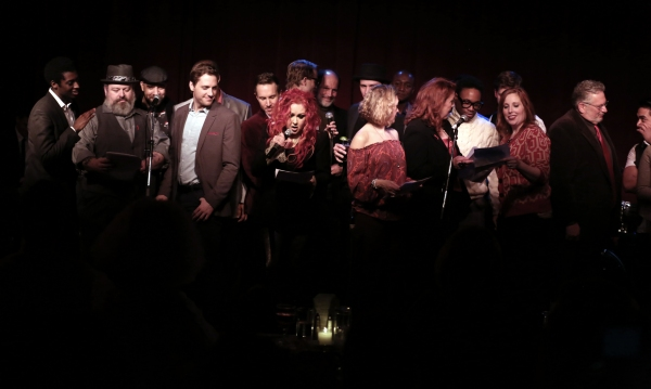 Cyndi Lauper with ''Kinky Boots'' cast members Adinah Alexander, Jennifer Perry, Bill Photo