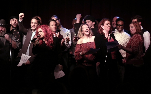 Cyndi Lauper with ''Kinky Boots'' cast members featuring Adinah Alexander, Jennifer Perry, Billy Porter, Tory Ross and Stark Sands