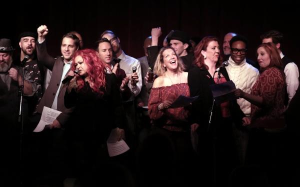 Cyndi Lauper with ''Kinky Boots'' cast members featuring Adinah Alexander, Jennifer P Photo