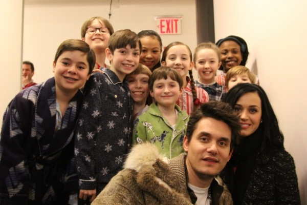 Backstage at Good Morning America: The kids ensemble from A CHRISTMAS STORY, THE MUSICAL with John Mayer and Katy Perry. Photo by Jim Brady.