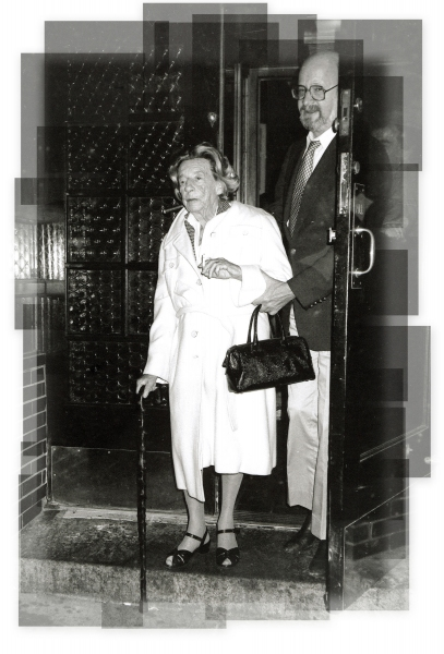 Lillian Hellman leaving Elaines's Restaurant in New York City. 1984