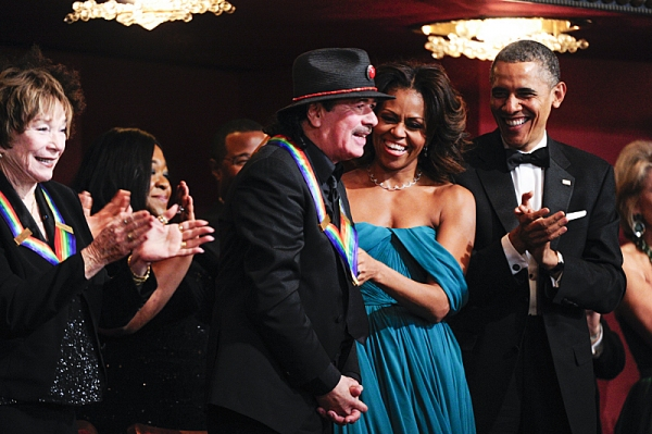 Musician and songwriter Carlos Santana, President and Mrs. Obama