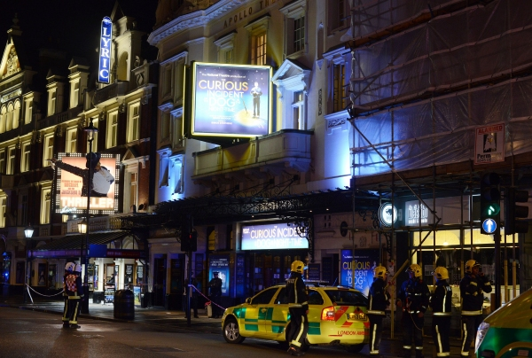 Emergency services attend the scene of a balcony collapse at the Apollo Theatre on Shaftesbury Avenue.