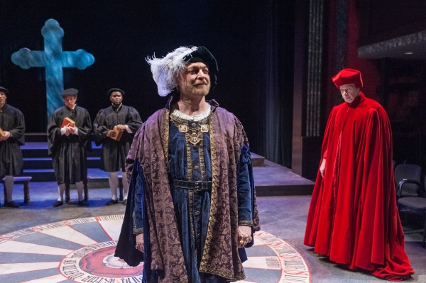 Henry VIII (Allyn Burrows) and Cardinal Wolsey (Robert Walsh)