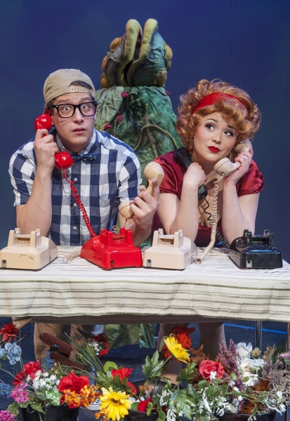 Seymour (Adam Cotugno) and Audrey (Adrienne  Walters) find their plant shop is sudden Photo