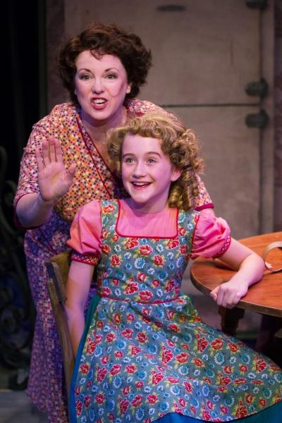 Vaudeville dreams catch on as Momma Rose (Sherri L. Edelen) gives a pep talk to Baby June (Erin Cearlock)