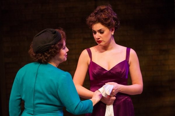Momma Rose (Sherri L. Edelen) prepares her daughter Louise (Maria Rizzo) for her first burlesque performance