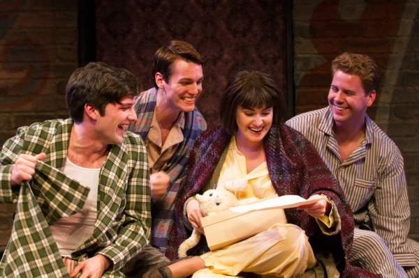 Louise (Maria Rizzo) gets a surprise birthday present from her stage pals Yonkers, Angie, and L.A. (from left: Samuel Edgerly, Joseph Tudor, and Gannon O'Brien).