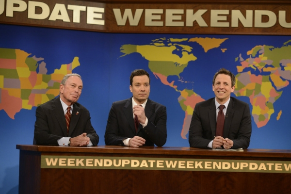 SATURDAY NIGHT LIVE -- Jimmy Fallon/Justin Timberlake Episode 1651 -- Pictured: (l-r) Michael Bloomberg, Jimmy Fallon, Seth Meyers -- (Photo by: Dana Edelson/NBC)