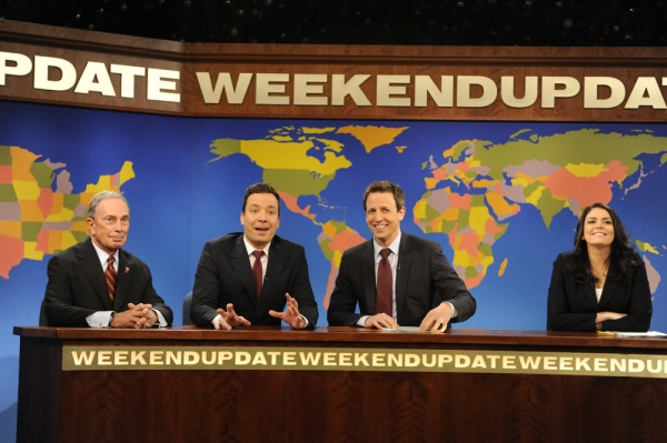SATURDAY NIGHT LIVE -- Jimmy Fallon/Justin Timberlake Episode 1651 -- Pictured: (l-r) Michael Bloomberg, Jimmy Fallon, Seth Meyers, Cecily Strong -- (Photo by: Dana Edelson/NBC)
