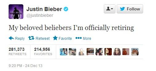 JUSTIN BIEBER Tells 'Belieber' Fans 'I'm Officially Retiring'