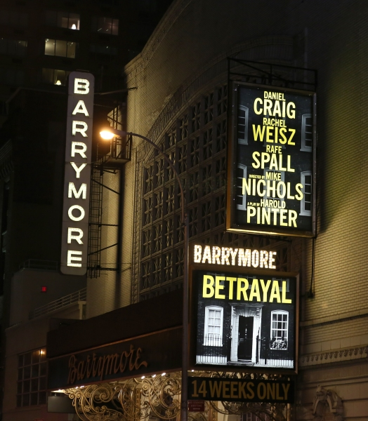 Opening Night Theatre Marquee for ''Betrayal'' at the Barrymore Theatre  on October 27, 2013 in New York City. Harold Pinter''s landmark play Betrayal returns to Broadway starring Daniel Craig, Rachel Weisz and Rafe Spall. Mike Nichols directs the drama,