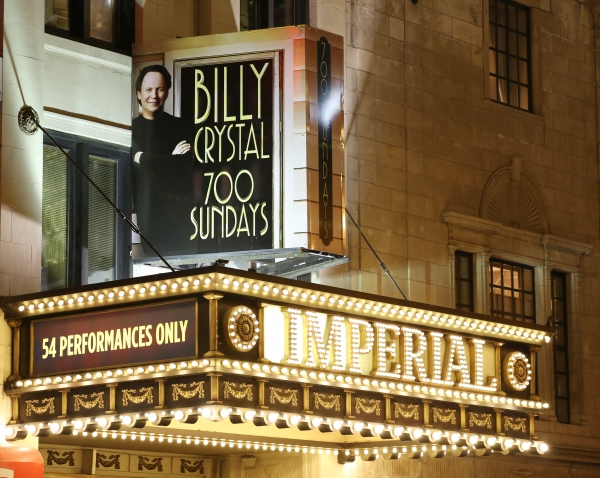 Theatre Marquee for the Broadway Opening Night Performance of  ''Billy Crystal - 700 Sundays'' at the Imperial Theatre in New York City on November 13, 2013.