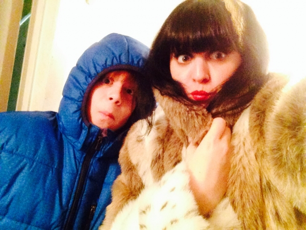 Jonah Verdon and I bundling up backstage.