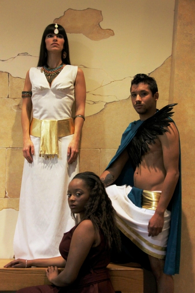 Lindsey Falduto (Amneris), Olivia James (Aida), and Alejandro Roldan (Radames)