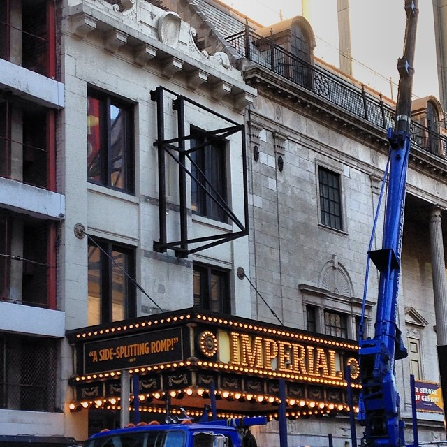 New Marquee Being Mounted At The Imperial Theatre
