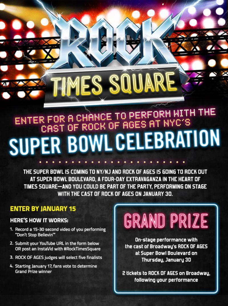 ROCK OF AGES Announces Times Square Super Bowl Boulevard Competition