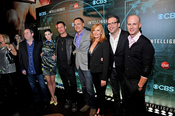 (l-r) Exec. Producer Barry Schindel, Series Star Meghan Ory, Series Star Josh Holloway, Jim Lanzone, President of CBS Interactive, Series Star Marg Helgenberger and Exec Producers  Tripp Vinson and Michael Seitzman attend CNET''s premiere Party for the ne