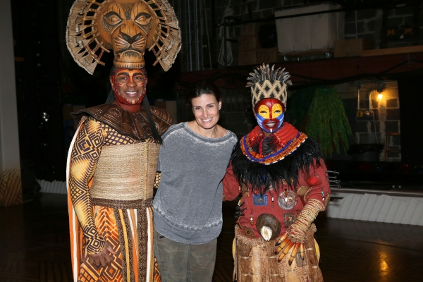 Alton Fitzgerald White as ''Mufasa'', Idina Menzel and Mukelisiwe Goba as ''Rafiki'' pose backstage after a performance of ''The Lion King'' at the Minskoff Theatre on January 12, 20114 in New York City.