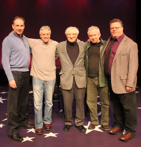 Andrew Levine (York Executive Director), Jeff Saver (Music Director), Sheldon Harnick (Composer), Robert Brink (Director) and James Morgan (York Producing Artistic Director).
