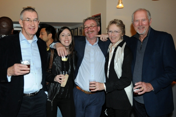 Cast member Barry McGovern, Center Theatre Group Producing Associate Lindsay Allbaugh, Director of the Gate Theatre, Dublin, Michael Colgan and actors June Ellen Lonnen and Granville Van Dusen