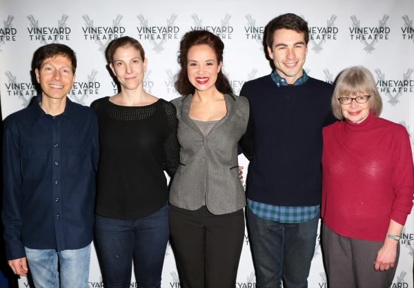 Victor Lodato (book writer/lyricist ), Carolyn Cantor (director ), Alexandra Silber, Ben Moss, and Polly Pen (composer )