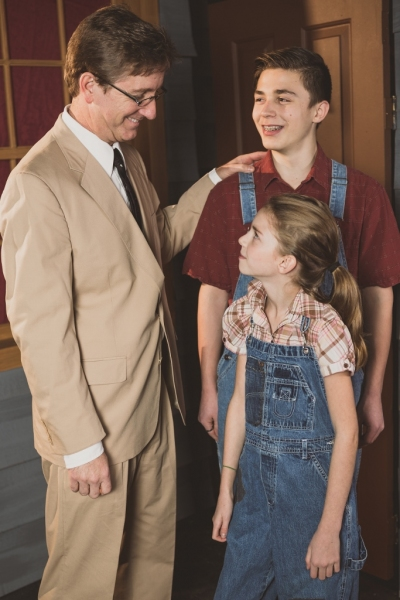 Jim Rogers as Atticus Finch, Liberty Evans-Agnew as Scout, Gunnar Johnson as Jem