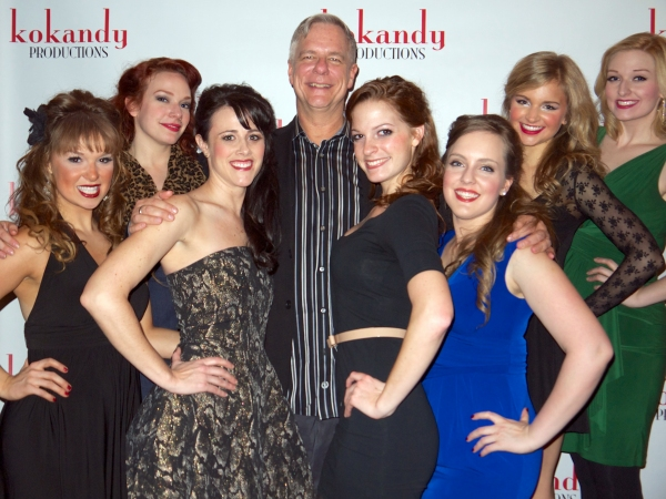 Kokandy Productions Associate Artistic Director and Director of SWEET SMELL OF SUCCESS John D. Glover with the ladies of the ensemble (L to R), Stephanie Wohar, Christina Hall, Christin Boulette, Madeline Acquaviva, Sarah Beth Odle, Kim Green, and Stephan