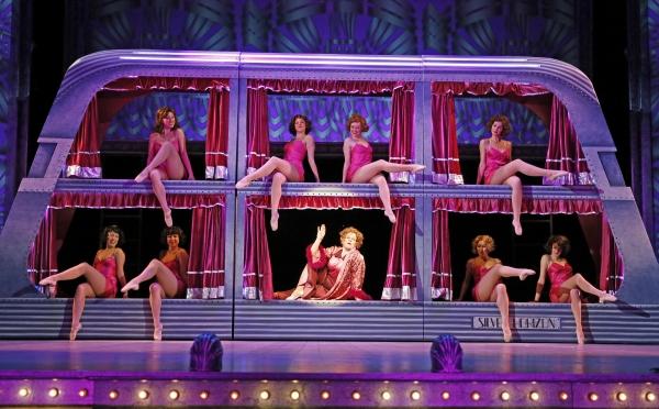 Maggie Jones (Nancy Voigts, center) and the chorus girls ''Shuffle off to Buffalo'' Photo