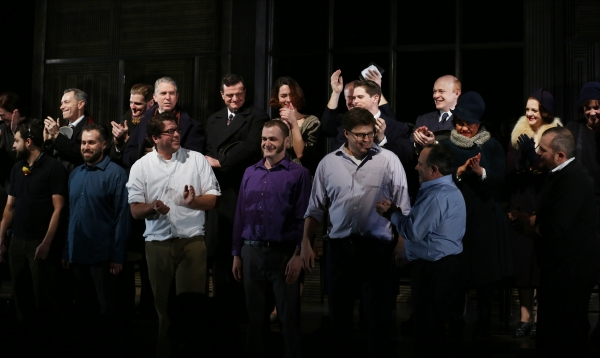 Rebecca Hall and Company with set stagehands