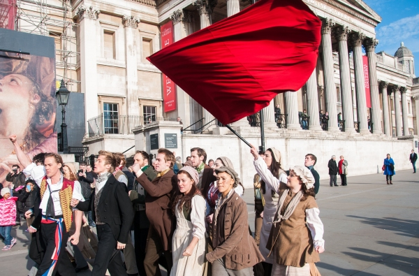 Photo Flash: West End Cast of LES MISERABLES Film Promotional Video in London's Trafalgar Square